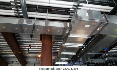 Ductwork and Piping on Construction Site