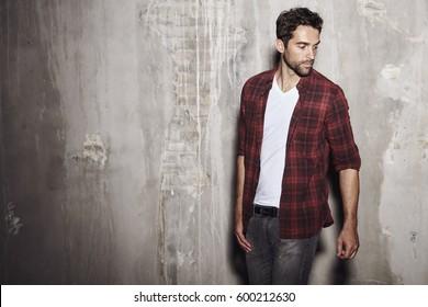 Dude in checked shirt, studio