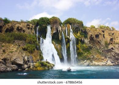 Duden waterfall in Antalya Turkey. Mediterranean sea. Travelling.