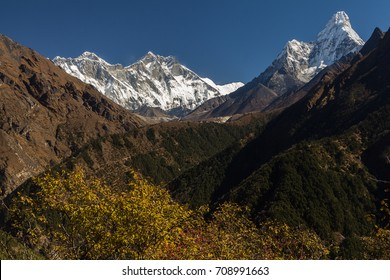 Dudh Koshi Valley - view from the traverse between Namche Bazaar and Kyangjuma. The top of Mount Everest visible behind the Nuptse-Lhotse Ridge. Ama Dablam is on the right. Sagarmatha National Park.