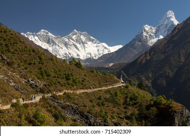 Dudh Koshi Valley - view from the traverse between Namche Bazaar and Kyangjuma. Top of Mt Everest visible behind Nuptse-Lhotse Ridge. Ama Dablam is on the right. Sagarmatha National Park - UNESCO Site