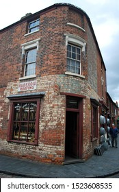 DUDLEY, ENGLAND - JULY 9. The Black Country Museum features many Victorian shop fronts set in recreated streets and is a popular tourist attraction. July 9 2019 in Dudley, England.