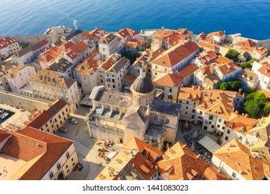 Dudrovnik, Croatia. Aerial view on the old town. Vacation and adventure. Top view from drone at on the old castle and houses. Travel - image