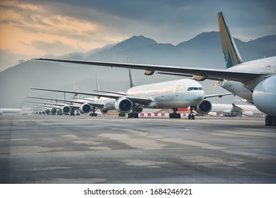 Due to  Coronavirus Covid-19 airline fleet parked at the Airport