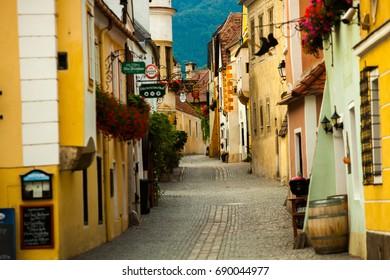 DUEMSTEIN, WACHAU, AUSTRIA, - JUNE 23, 2017: Duernstein, Wachau, Lower Austria, Europe.Old street in Austria in Duernstein, Wachau, Lower Austria
