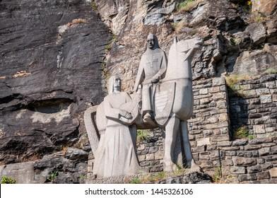 DUERNSTEIN / AUSTRIA JULY 5, 2019: Memorial of Richard Lionheart near Duernstein, Wachau, Austria
