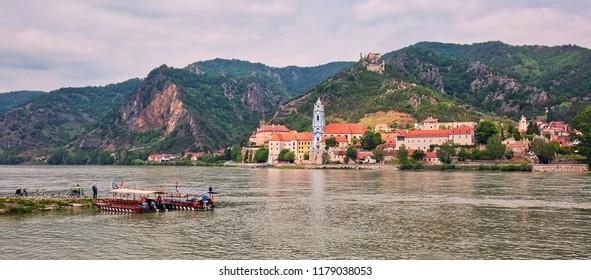 DUERNSTEIN, AUSTRIA - May 5th, 2018: Town of Duernstein by the river Danube in Wachau valley, popular travel destination in Austria