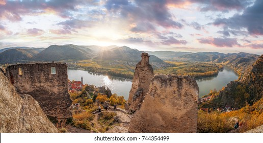 DUERNSTEIN CASTLE AND VILLAGE WITH DANUBE RIVER IN AUSTRIA