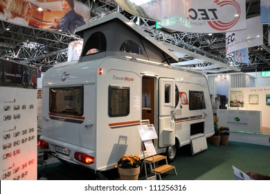 33c6adddfe DUESSELDORF - AUGUST 27  T.E.C. Travel Style mobile home showed at the  Caravan Salon Exhibition