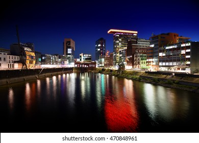 Duesseldorf, Germany - 19. July - media harbor with business and office buildings
