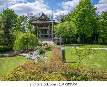 Duesseldorf, Germany - April 29, 2017: View of the Japanese Garden and Japanese buildings at EKO Haus