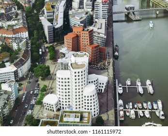 DUESSELDORF, GERMANY - AUGUST 3, 2009: The new Medienafen is a redevelopment area in the former docklands and harbour with buildings designed by Steven Holl, David Chipperfield and Frank O Gehry