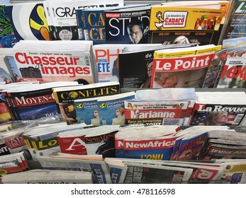 Duesseldorf, Germany- august 3,2016: Magazines in french language in a store  in Duesseldorf.