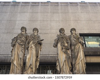 DUESSELDORF, GERMANY - CIRCA AUGUST 2019: Karyatiden (meaning Caryatids) in front of the Kunsthalle (Art Gallery) by Leo Muesch unveiled in1879