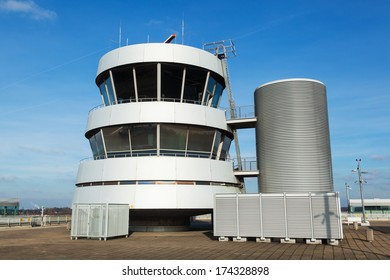 DUESSELDORF, GERMANY - JANUARY 29: Tower at the Duesseldorf Airport on January 29, 2014 in D�¼sseldorf. It is the former tower from the airport before a fire desaster 1996.