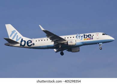 DUESSELDORF, GERMANY - March 18,2012: Flybe Embraer 175LR (Registartion: G-FBJA) lands at RWY 05R at Duesseldorf International Airport (DUS).