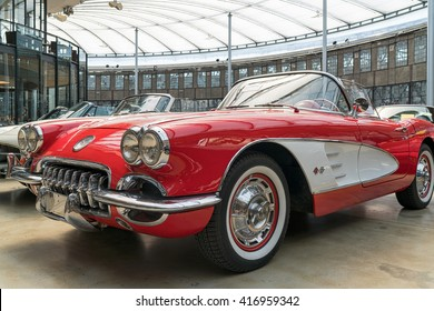 DUESSELDORF, GERMANY - MAY 06: Classic Chevrolet Corvette in the Classic Remise Duesseldorf, a center for vintage cars. It can be found in a historic roundhouse for locomotives.
