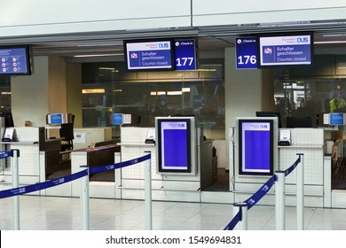 DUESSELDORF, GERMANY - October 10, 2019: Empty check in desk at Duesseldorf airport