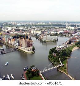 Duesseldorf mediahafen (harbour) in Rheinland-Westphalia, Germany