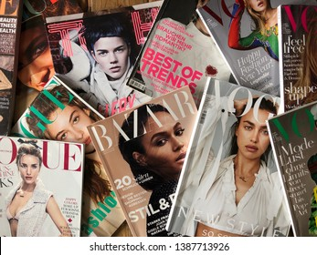 Duesseldorf, NRW, Germany- May 3, 2019: Various of popular german fashion magazines on the table.