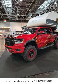 DUESSELDORF, NRW, GERMANY - SEPTEMBER 06, 2020: Motorhomes and campers for sale or rent at an exhibition. Concept freedom, family vacation trip, holiday trip with camper.