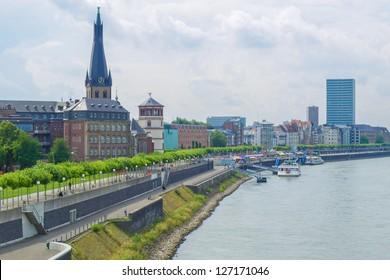 Duesseldorf panorama with river Rhein (Rhine), Germany