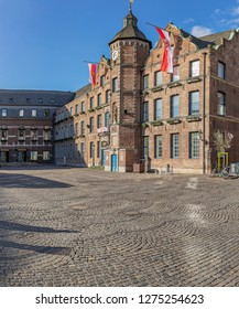 Duesseldorf - View to Townhall, the history of construction of City Hall  dates back to the years 1570/73 in the oldest parts of the building, North Rhine Westphalia, Germany, Duesseldorf, 13.02.2018