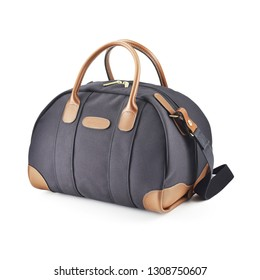Duffle Bag Isolated on White Background. Black and Brown Foldable Striped Zippered Travel Bag with Top Closure. Side View of Luggage Handbag
