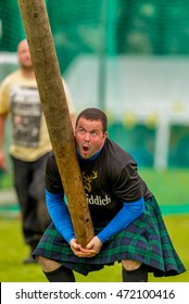 DUFFTOWN, MORAY, SCOTLAND - 30 JULY: This is a competitor in the Heavy Events at Dufftown Highland Games on 30 July 2016.