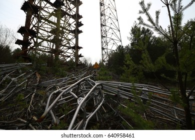 Duga radar. Russian woodpecker. Legacy of ex Soviet cold war times. Chernobyl exclusion zone. Zone of high radioactivity. One of the most dangerous place on earth. Pripyat. Ukraine.