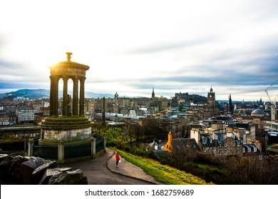 Dugald Stewart Monument and Edinburgh Views