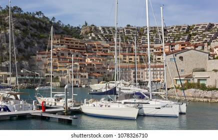 DUINO AURISINA, Italy - April 14, 2018: Boats moored at the marina of the luxury seaside resort of Portopiccolo, near Trieste
