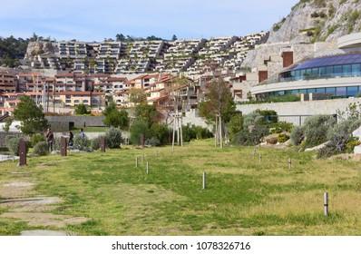 DUINO AURISINA, Italy - April 14, 2018: Grass area at the seaside resort of Portopiccolo, near Trieste, Italy