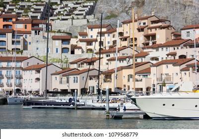 DUINO AURISINA, Italy - April 14, 2018: Luxury seaside resort of Portopiccolo, near Trieste
