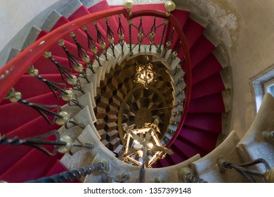 DUINO ITALY ON AUGUST 18, 2018: Staircase in Duino castle Duino-Aurisina,  Friuli-Venecia Julia in Trieste Italy