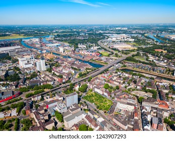 Duisburg city aerial panoramic view in Germany