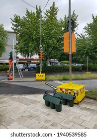 DUISBURG, GERMANY - 1 July 2020 Connecting traffic lights for traffic control at area - Buchholz