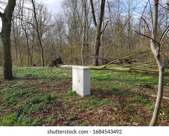DUISBURG, GERMANY - 1 March 2020 Consequences of a hurricane sweeping through the afternoon of 02.29.2020 in Biegerpark