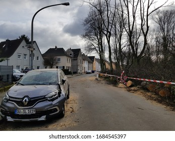 DUISBURG, GERMANY - 1 March 2020 Consequences of a hurricane sweeping through the afternoon of 29 February 2020 in Biegerpark