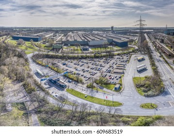 DUISBURG / GERMANY - MARCH 24 2017 : Vehicles passing the steel plant gate, aerial