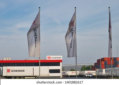 Duisburg, Germany May 19th 2019: DB Schenker main entrance of their company