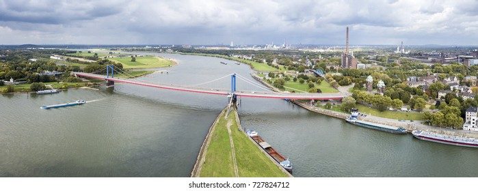 DUISBURG / GERMANY - OCTOBER 03 2017 : The Friedrich-Ebert Bridge over the river Rhine is connecting Ruhrort and Homberg