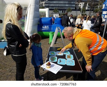 DUISBURG, GERMANY - Sep 17, 2017 Children's world day. Kids participate in games, sweepstakes, learn new things or just play to get gifts, candy & souvenirs. Parentsn help young people everywhere