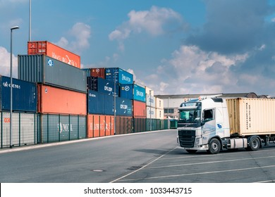 DUISBURG / GERMANY - September 03 2015 : Logistics import and export, cargo station area of inland port and harbor Duisburg Ruhr in North Rhine Westfalia.