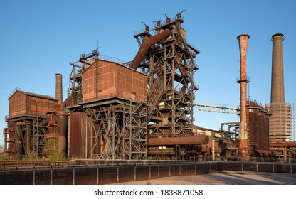 DUISBURG, GERMANY - SEPTEMBER 18, 2020: Industrial heritage of the old economy, ruin of steelmill in the Landschaftspark Duisburg on September 18, 2020 in Ruhr Metropolis, Germany, Europe