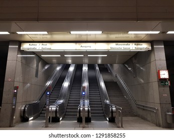 DUISBURG, NRW, GERMANY - 17 January 2019 View of tunel tram 901 stop - Rathaus
