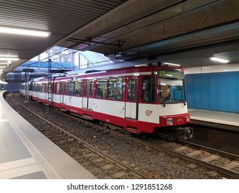 DUISBURG, NRW, GERMANY - 18 January 2019 View of tram U79 stop - Sittardsberg