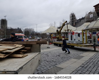 DUISBURG, NRW, GERMANY - 2 March 2020 Construction site fragments of barrier protection in city middle versus terrorists on the trucks