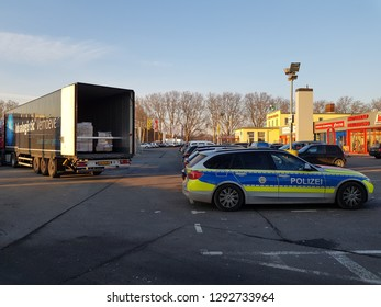 DUISBURG, NRW, GERMANY - 21 January 2019 Checking the driver  documents of a heavy truck