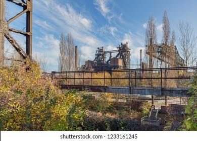 Duisburg -  View to Buildings of the former Steel-Mill at Landschaftspark Duisburg-Meiderich, North Rhine Westphalia, Germany, Duisburg, 18.11.2018